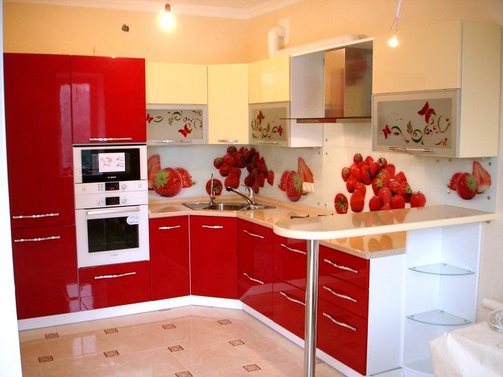 кухонный гарнитур олеандр красочная угловая кухня с барной стойкой